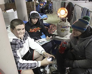William d Lewis the Vindicator   First in line outside Boardman Best Buy were from left, David Cancel, 15, Andrew Bujdoso, 15, and Dominic Miranda, 15, all of Canfield. They were in line since Tuesday afternoon. thye were hoping to purchase TVs.