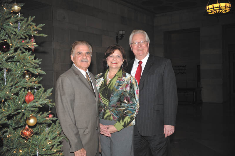 Committee members of Monday Musical Club at Stambaugh Auditorium including (Left to Right) Richard Esposito (President), Cindy Miller (First Vice President) and Jim Echement Executive Director of the Rescue Mission of the Mahoning Valley. The Monday Musical Club's annual collection for the Rescue Mission that will take place during an upcoming concert for Judy Collins...Photo Credit: Lindsay McCall | The Vindicator