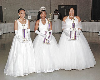 The Cinderella Ball Court are pictured from left, Donielle Lisbon, second attendant; Brittany Williams, Miss Cinderella; and Jade Colyar, first attendant.