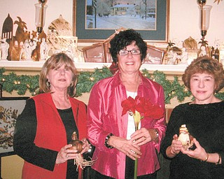 The Mignonette Garden Club Christmas luncheon was Dec. 4 at the home of Beverly Muresan. One of their projects is taking amaryllis bulbs to area nursing homes for residents and staff can watch the bulbs grow into large flowers. Holding the bulbs are Georgianna D'Andrea, left, president; Muresan, project director and distributor who is holding a full-grown amaryllis; and Valorie Zurawick, program chairwoman.