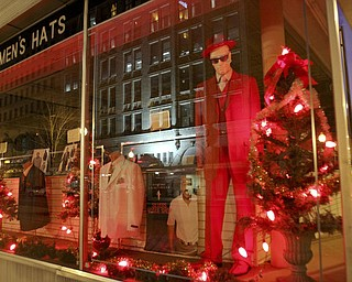 William d LEwis The Vindicator  Silvers Vogue shop decorated window in downtown y-town.
