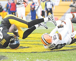 Pittsburgh Steelers wide receiver Plaxico Burress tumbles in the end zone with Cleveland Browns cornerback Joe Haden for a fourth-quarter touchdown in Sunday's game in Pittsburgh. The Steelers topped the Browns, 24-10, with nothing at stake but bragging rights.