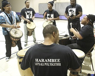 William D Leiws the Vindicator  Harambee drum corp plays during Kwanzaa celebrationTuesday at McGuffey Centre.
