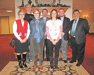 For more than 50 years the Columbiana Area Chamber of Commerce has recognized individuals, groups and businesses with awards for making a positive difference in the community. Sponsors for the Feb. 24 awards banquet include, in front from left, Chris Davis of Sitler the Printer; Ellen Witmer-Bowman of Das Dutch Village Inn; and Dr. Richelle Keleman of Columbiana Medical Center. In back are Doug Nybell of Crystal Dragon Family Martial Arts; Derrick Hart of Staff Right; Sean Holloway of Holloway Insurance; and Randall Hart of New York Life. Other sponsors are representatives of All Points Physical Medicine, Home Savings & Loan, Farmers Bank and Wilson's Furniture. Nominations for this year's award banquet should be submitted to Chamber of Commerce, 328 N. Main St., Columbiana, or at www.columbianachamber.com by Jan. 25. Criteria also may be found on the website. Honorees will be recognized at the 60th annual awards banquet at Das Dutch Village Inn. Steven T. Ruwoldt, president and chief executive officer of Salem Community Hospital, will be featured speaker. For banquet reservations call the chamber office at 330-482-3822.