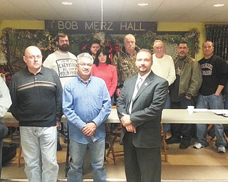 Lowellville Rod and Gun Club's new executive board, from front left, includes Chuck Houck, CMP; Sinisa Pavetic, roads and grounds; Tomas Molina, farmer sportsman; and Mark Cole, membership chairman and president of the 501(c)(3) committee. In back row are, from left, Jim Hruska, vice president; Russell Myers, recording secretary; Ann Theis, treasurer; Andy Douglas, president; Ed Rigelsky, senior trustee; Victor Hernandez, sergeant of arms; James Fellows, financial secretary; and Dave Grimm, junior trustee. The club is taking applications for new members. Contact Cole at 330-720-0381 or markcoleins@aol.com, or Steve Raseta at 330-301-0927 or stevanraseta@gmail.com. Tours are given at 6225 Quarry Road at 6 p.m. the first Wednesday of each month of the gun range, club house, outdoor trap range, rifle range, archery course and 10-acre stocked lake.