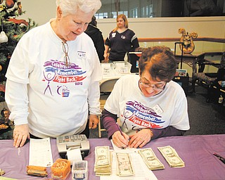 Bonnie Weaver, left, and Patti Griffin count donations at Sunday's Relay for Life kickoff event at Austintown Community Church.