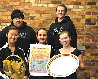 Ballet Western Reserve will sponsor a spaghetti dinner from 11 a.m. to 4 p.m. Jan. 20 at St. Patrick Church hall, 1420 Oak Hill Ave., Youngstown. Ballet company dancers, in front from left, Maeli Foley, Izzy Aey and Jena Styka, hold pasta, a poster and serving dish. In back are parent guild members, Lisa Foley, left, and Anna Aey. Adult dinners will be $7, YSU students with identification and 3- to 12-year-olds cost $5 and those under 3 eat free. Take-out orders will be available. Tickets may be purchased at the door or at Ballet Western Reserve. There also will be a basket auction, 50-50 raffle and bake sale. All proceeds go to Ballet Western Reserve.
