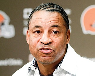 Cleveland Browns defensive coordinator Ray Horton answers questions Tuesday during a news conference at the team's training facility in Berea. Disappointed that he was not hired as a head coach, Horton feels the league's Rooney Rule to promote minorities works despite contrary statistics.