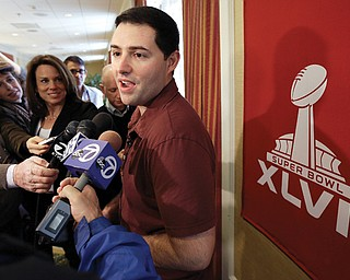 San Francisco 49ers CEO Jed York talks with reporters Thursday in New Orleans. The 49ers will play the Baltimore