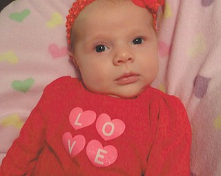 6-week-old Julia Putko, daughter of Jim and Casey Putko of Boardman, is all ready to celebrate her first Valentine's Day.