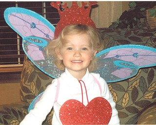 Grandma Ellen Monroe sent in this photo of granddaughter Mena Monroe looking festive dressed up as a Valentine fairy.