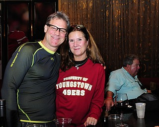 2/2/13 New Orleans LA.-NFL Sue and Ron Yarab of Youngstown ohio in SF49er's lobby with Businessman Bruce Zoldan meets a group from Youngstown Ohio in the San Franciso 49er's hotel lobby bar and passes out special Youngstown Ohio SF49er's Tshirts. Included in the group is Greg Strollo, Mike Bruno,Jeff Chrystal, and Sue and Ron Yarab all from Youngstown. Photo©Suzi Altman