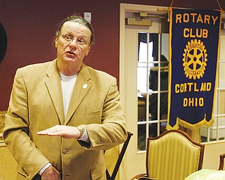 Peter Christ, a retired New York police officer and member of Law Enforcement Against Prohibition, explains his reasons to the Rotary Club of Cortland why he favors legalization of marijuana and other drugs. He spoke Tuesday morning at Lake Vista of Cortland retirement community.