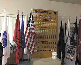 The Mahoning Valley Wall of Honor is a portable memorial recognizing local service members killed in action during the Vietnam War and Iraq/Afghanistan wars. The name, year of birth and year of casualty is printed on a bronze plate to honor each soldier from Mahoning, Trumbull and Columbiana counties. It will be on display through Feb. 15 at the Niles S.C.O.P.E. Center, 14 E. State St. Hours are 9 a.m. to 4 p.m. Monday through Thursday and 9 a.m. to 3 p.m. Friday. Donations may be made at the visit so another wall can be built acknowledging local soldiers killed in action in the Korean War and World War II. American Legion Howland Post 700 is the sponsor.
