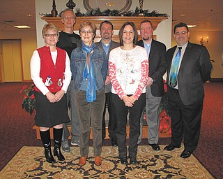 Sponsors for the Columbiana Area Chamber awards banquet set for Feb. 24 at Das Dutch Village Inn are, from left in front, Chris Davis for Sitler the Printer, Ellen Witmer Bowman for Dutch Village Inn, Dr. Richelle Keleman for Columbiana Medical Center, and in back are Doug Nybell for Crystal Dragon Family Martial Arts, Derrick Hart for Staff Right, Sean Holloway for Holloway Insurance and Randall Hart for New York Life. Missing sponsors are All Points Physical Medicine, Home Savings and Loan, Farmers Bank and Wilson's Furniture.