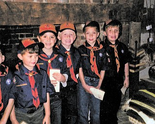 Boy Scout Tiger Den visits Austin Log Cabin Boy Scout Tiger Den 2 of Pack 184 at St. Joseph Church recently toured Austin Log Cabin. The boys and their families learned about the history of Austintown, the importance of the location of the cabin, how it was built and why the cabin is so important to Austintown. From left are Luke Amendolea, Noah Gatto, Joey Ruscitti, Dominick Woloschak, Vince Larson and Bryson Nichols. Their leader is Rick Larson. Groups or organizations may arrange tours of the cabin or Strock Stone House by calling the Austintown Historical Society at 330-799-8051. PHOTO: SPECIAL TO THE VINDICATOR