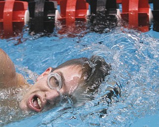 Lakeview senior Nick Preston swims laps Thursday in the pool at Youngstown State University. Preston, who has type 1 diabetes, is a four-time district qualifier and is seeded 19th in the 500-yard freestyle and 21st in the 200 free for today's district meet at Cleveland State.