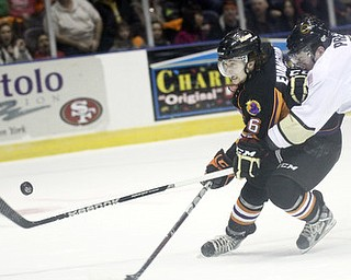 William D Lewis The Vindicator Phantoms Zach Evancho(16) and Lumberjacks Mike Preston(7) go for the puck during 2-23-13 game with Lumberjacks.
