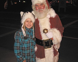Julianna Hornikel met Santa at the lighting of Canfield Village Green. Photo submitted by her grandmother, Vera Orosz.