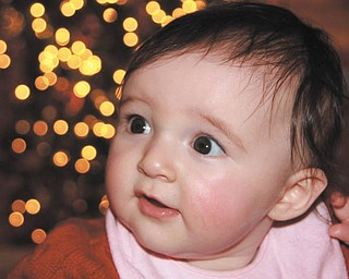 Samantha Sodeman's first Christmas smile. She's from North Jackson. Photo sent in by Jackie Cannatti of Poland.