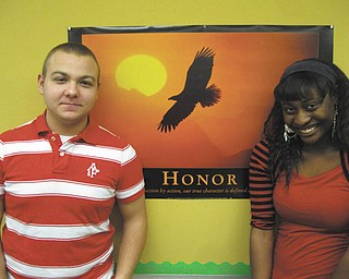 SPECIAL TO THE VINDICATOR Rotary Club of Austintown sponsored Austintown Fitch juniors Alec Kalis, left, and Latrice Nelson, who attended the Rotary Youth Leadership Award conference Feb. 22-24 at Magnuson Grande Hotel in Warren. The event included high school juniors from more than 50 schools in Northeast Ohio, including 44 young men and 55 young women. Speakers, activities and workshops filled the three days and gave the youths an opportunity to network with other future leaders. Latrice is the daughter of Larry and Beatrice Nelson and is an honor student. She is a member of Fitch Interact Club, Robotics Team, tennis, drama, speech and debate, Academic Challenge, soccer and Future Business Leaders. She is also a member of Girl Scouts. Alec is the son of Christopher and Kathy Kalis and is an honor student. He is a member of the NEOUCOM high school program, a volunteer at St. Elizabeth Hospital and a member of Interact and Spanish clubs.