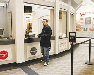James Mickel of Youngstown seeks assistance at the registration station of Youngstown State's new One Stop center for students.