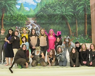 "Neighbors | Natalie Scott.Some members from the cast of ""The Jungle Book"" are pictured together in costume at their rehearsal prior to play week Feb. 22."