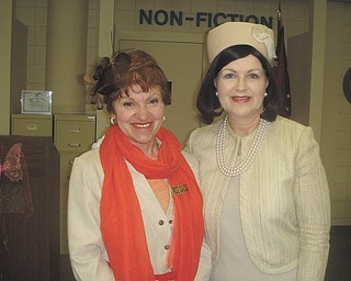 Roselyn Gadd, left, will welcome Carol Starre-Kmiecik to the area as she portrays Jacqueline Kennedy at 10 a.m. Monday at Austintown Library Community Room, Raccoon Road. The event is sponsored by Friends of Austintown Library in honor of American Woman's Month. Starre-Kmiecik's performances are educational and entertaining. Admission is free. SPECIAL TO THE VINDICATOR