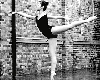 Ballet Western Reserve and Oakland Center for the Arts will display their talents and memorabilia at 7 p.m. Saturday at the Morley Arts Building. Shown is one of the photos that will be on display, the ballet dancer, Maeli Foley. SPECIAL TO THE VINDICATOR