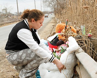Teiranny Hardman of Warren places a stuffed animal Monday at the scene where six Warren teenagers were killed. The Sunday morning crash on Niles-Warren River Road occurred just north of Burton Street and across from the former RG Steel mill near the Warren-Howland Township line.