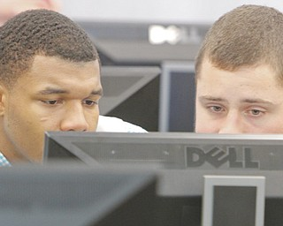 Braylen Wigfall, left, and David Horvath of Campbell work on their business model Thursday during the Junior Achievement of Mahoning Valley Titan Challenge at Youngstown State University. Twenty teams from Mahoning Valley high schools competed in the fourth annual competition.