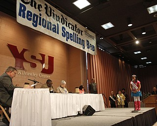 ROBERT  K.  YOSAY  | THE VINDICATOR --..The 80th  Youngstown Vindicator Spelling Bee was held at Kilcawley Center on YSU Campus  Saturday morning with  60 competitors from area schools.. ..(AP Photo/The Vindicator, Robert K. Yosay)