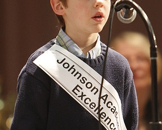 ROBERT  K.  YOSAY  | THE VINDICATOR --..FACES - Samuel Johnson  2nd grader at Johnson Academy of Excellence ..The 80th  Youngstown Vindicator Spelling Bee was held at Kilcawley Center on YSU Campus  Saturday morning with  60 competitors from area schools.. ..(AP Photo/The Vindicator, Robert K. Yosay)