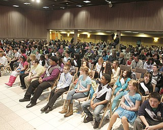 ROBERT  K.  YOSAY  | THE VINDICATOR --..A capacity crowd as the 60 spellers took their seats with parents and friend supporting them ..The 80th  Youngstown Vindicator Spelling Bee was held at Kilcawley Center on YSU Campus  Saturday morning with  60 competitors from area schools.. ..(AP Photo/The Vindicator, Robert K. Yosay)