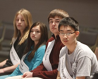 ROBERT  K.  YOSAY  | THE VINDICATOR --..FINAL FOUR - Brookfield  Middle Josy Kirila 8th grade-  Tamsin Day  - Willow Creek Elementary  Aaron Coates  ..8th grade and Max Lee  Canfield Middle School 8th grader- St Rose The 80th  Youngstown Vindicator Spelling Bee was held at Kilcawley Center on YSU Campus  Saturday morning with  60 competitors from area schools.. ..(AP Photo/The Vindicator, Robert K. Yosay)