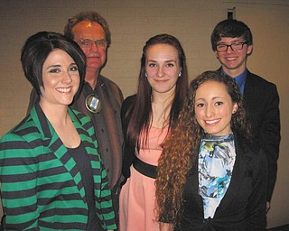 SPECIAL TO THE VINDICATOR The Rotary Club of Austintown sponsored the annual 4 Way Speech Contest at the March meeting. The five- to seven- minute speeches are to test the problems of life and society. Participants and winners were, from left, Andrea Folsom, coach; Ron Carroll, Rotary president; Mia Colon, second prize; Jackie Knutti, first prize; Logan Pasquale, third prize.