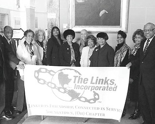 SPECIAL TO THE VINDICATOR The Links Inc. Youngstown Chapter sponsored a tour of the Butler Institute of American Art as the culmination of Black History Month. It featured the viewing of a portrait of the late Dr. Luther June Shipmon, father of Link president, Krishmu Shipmon. The work was done by Al Bright, the husband of Virginia Banks-Bright and brother-in-law of Glenda Newell Harris, Link national vice president. Other art by notables in Black History dated back to the Civil War era. The tour included Connecting Links, Heir-o-Links, friends of Links and Alumnae members. Alumna Link Joanne Blunt, docent of the museum,  facilitated the tour. Shown with the Links Banner are Sterling Williams; Al Bright; Joanne Blunt; Martha Jones; Margaret Staples; Juanita Williams; Virginia Banks-Bright; Janice Beachum, vice president; Sarah Brown-Clark; Krishmu Shipmon, president; Anne Cobbin; and Charlie Staples.