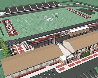A drawing of the proposed stadium at Boardman High School is on the Boardman Boosters' website. The booster club is trying to raise the $4 million needed to build the stadium and will receive a $100,000 donation from the Home Savings Charitable Fund today.