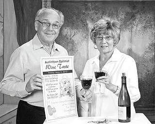 SPECIAL TO THE VINDICATOR Austintown Optimist Club is sponsoring a wine taste from 7 to 10 p.m. May 3 at Youngstown Saxon Club, 710 S. Meridian Road, Youngstown. Holding an advertisement are club members Dick and Nancy Stoy. There will be wine, food and entertainment. Door prizes, a basket auction and a 50-50 raffle also will be available. The cost is $35 per person and tickets can be purchased before the event or at the door. For tickets call 330-793-2384.