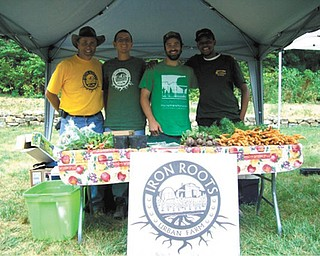 SPECIAL TO THE VINDICATOR The second annual Poland Village Farmers Market will begin June 14 on the lawn of Poland Village Town Hall. Iron Roots Urban Farm, one of the vendors, will provide produce for the market. Proudly showing a display of their produce are Curtis Moore, left, director of Iron Roots; and employees Rick Price, Matthew Porter and Demetrius Pugh.