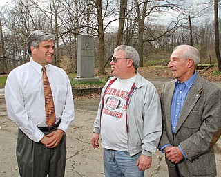 From left, Girard Mayor James Melfi and councilmen at-large Lou Adovasio and Sonny Schuyler stand at Liberty Memorial Park. City council and Melfi are collaborating on an effort to bring soccer to the park in hopes of revitalizing it.