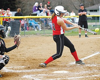Mathews' Jessica Marsico (3) connects for a hit during a game against Ledgemont on Wednesday in Vienna. The Mustangs, who were state runners-up in 2012, blanked the Redskins, 13-0, behind Marsico and Cheyenne Eggens, who combined on a five-inning one-hitter.