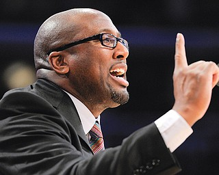 Mike Brown gestures during a Los Angeles Lakers game against the Chicago Bulls in Los Angeles. The Cavaliers intend to speak with Brown, who was fired by the Lakers earlier this season, about returning to Cleveland. Brown was fired by Cleveland three years ago after five seasons as head coach.