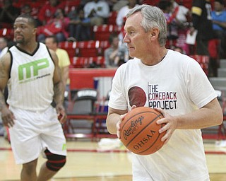 William D. Lewis\The Vindicator Jim Tressel, RIGHT, and Maurice Clarett during Comeback event at Struthers Saturday..