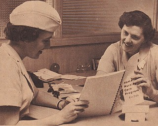 This picture of Jeanette MacLennan Van Brocklin, left, was published on the front page of The Vindicator's June 26, 1960, Rotogravure Section. It was part of a full-page package focusing on her as she performed her many duties as a nurse with the Visiting Nurse Association. The entire page was sent to us by her husband, Harry Van Brocklin. The couple live in Poland.