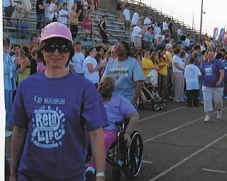 """Lori Blinsky of Boardman is an RN at Youngstown Development Center in Mineral Ridge. In this photo, sent in by her mother, Maralyn Porter, Lori participates in the Boardman Relay for Life. """"She is a breast cancer survivor, besides being a good nurse, great wife and mother to two sons,"""" writes her proud mom."""