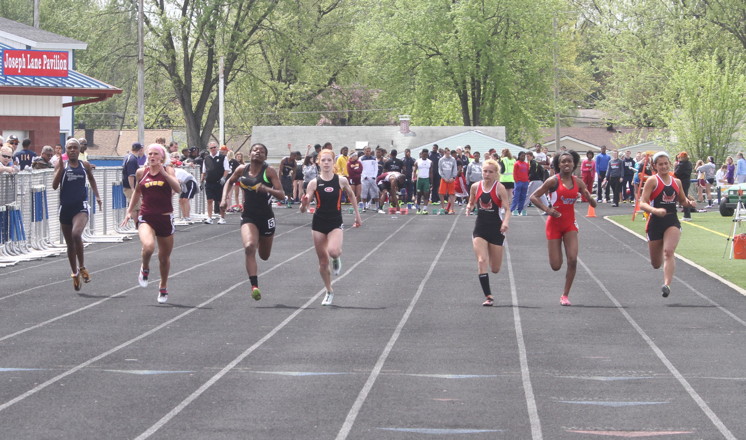 NICK MAYS l THE VINDICATOR  The girls 100 meter dash finals Saturday afternoon in Austintown. 05042013 austintown, ohio