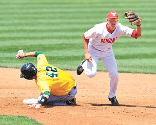 YSU short stop Phil Lipari steps on second to force Wright State's Michael Timm out before turning a double play to first during the eighth inning of Sunday's game at Eastwood Field in Niles. The Penguins hung on to win 7-4.