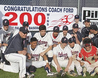 William d Lewis the vindicator Fitch Basebll coach wally Ford, left, and his team celebrate Ford's 200th career win after beating Niles 1-0 at Fitch 5-6-13.