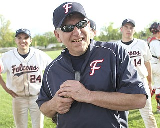 William d Lewis the vindicator Fitch Basebll coach wally Ford and his team celebrate Ford's 200th career win after beating Niles 1-0 at Fitch 5-6-13.